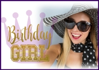 Birthday girl birthday queen crown card Postcard template