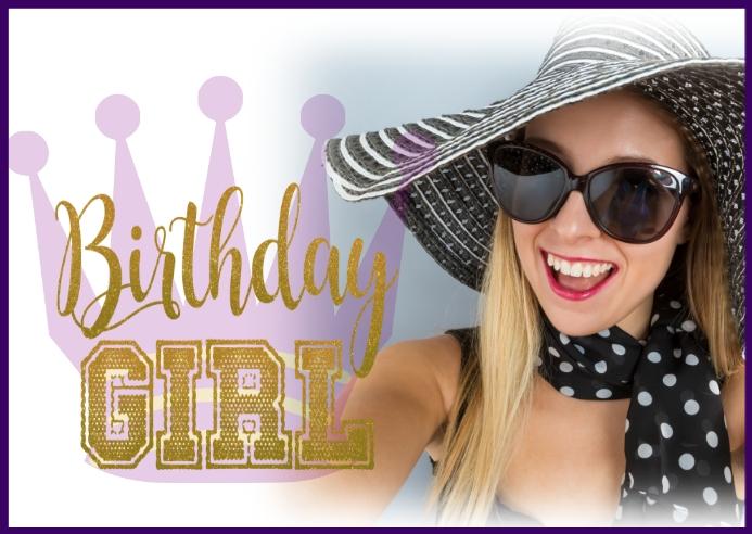 Birthday girl birthday queen crown card Postcard template