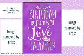 Birthday Girl Purple Collage Print Poster Gift Family friend