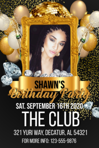 Birthday Gold & Diamonds Flyer Cartaz template