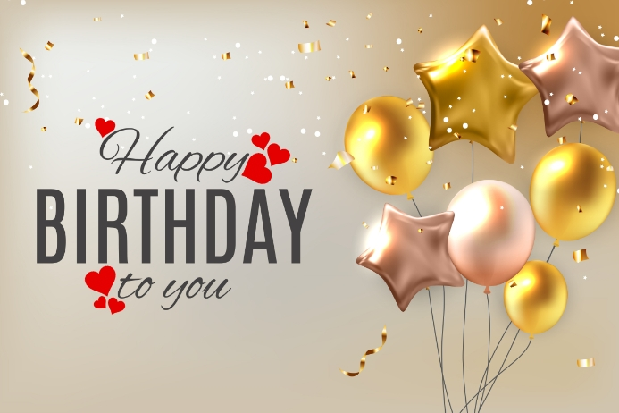 Birthday gold Etiqueta template