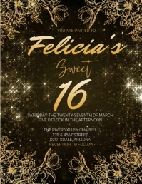 BIRTHDAY GOLD Invitation FLYER Template