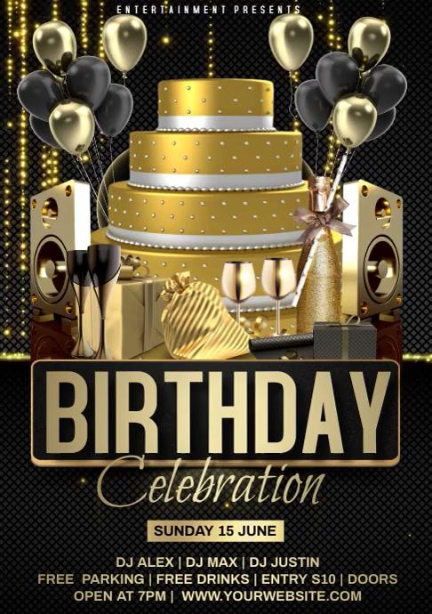 Birthday Golden Video Flyer A4 template