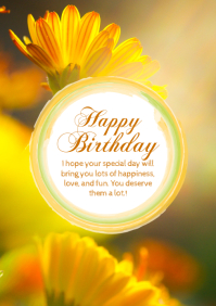 Birthday Greeting Card Flowers Sun Yellow Din A4 template