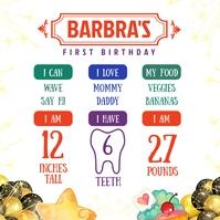 Birthday Invitation and milestone one year ol Publicação no Instagram template