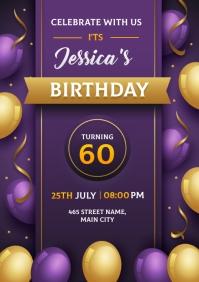 birthday invitation card A5 template