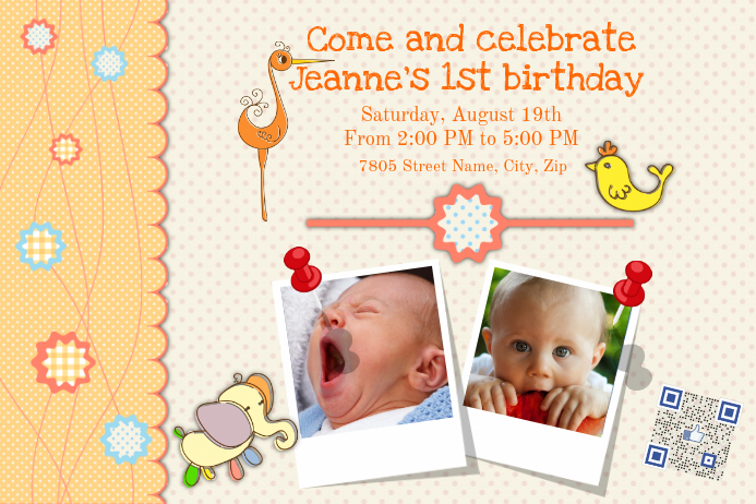 Birthday invitation card with photos