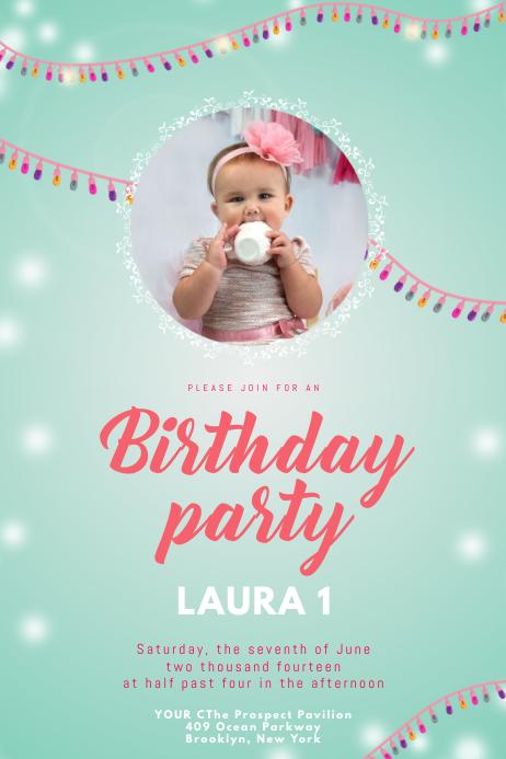 Birthday Invitation Kids Girl Template