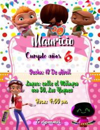 BIRTHDAY INVITATION PARTY MINI BEAT POWER ROCKER tarjeta de invitacion cumpleaños FIESTA Ulotka (US Letter) template