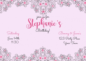 Birthday Invitation Postcard Postkarte template