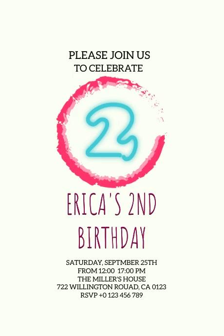 birthday invitation VIDEO card TEMPLATE Poster