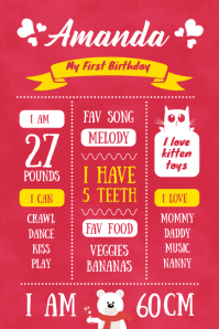 Birthday Invite and Milestone One year Old Póster template