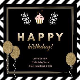 Birthday invite striped