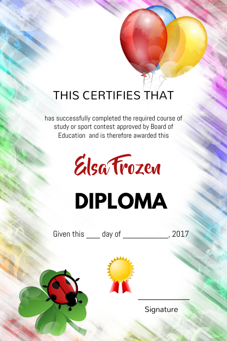 Birthday kids diploma certification template