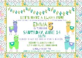 Birthday Lama Cactus Theme Invitation