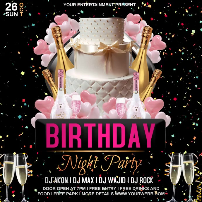 Birthday night party Instagram 帖子 template