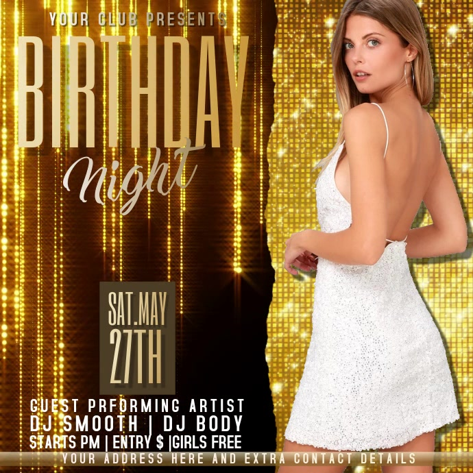 birthday NIGHT PARTY FLYER Publicación de Instagram template