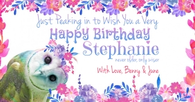 Birthday Owl Watercolor Floral Birthday for F Facebook Shared Image template