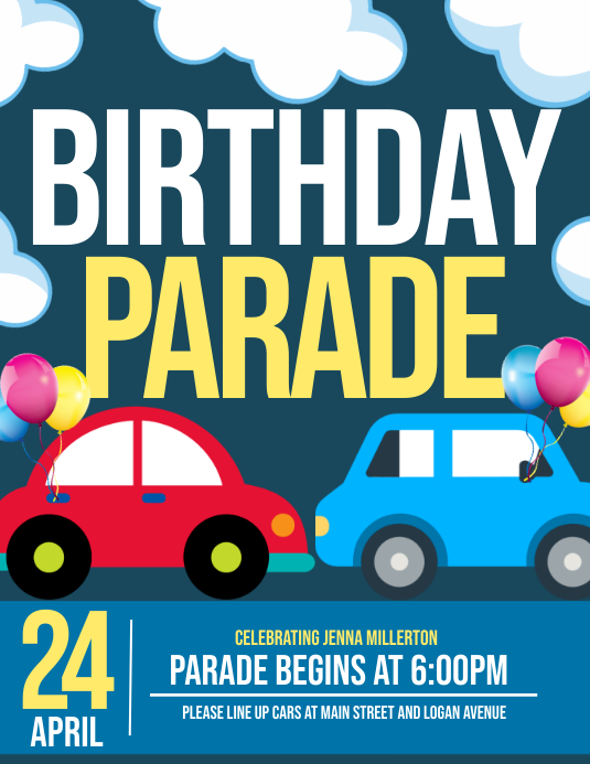 Birthday parade Folheto (US Letter) template