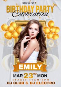 birthday party, birthday, happy birthday A4 template
