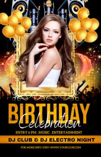 birthday party, birthday, happy birthday Tabloide template