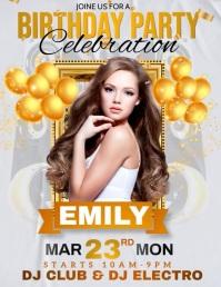 birthday party, birthday, happy birthday Flyer (US Letter) template