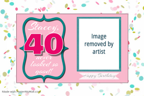 Birthday Party 40th Poster Announcement Template Flyer