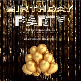 BIRTHDAY PARTY AD SOCIAL MEDIA Template