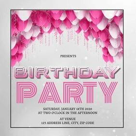 BIRTHDAY PARTY AD SOCIAL MEDIA Template Instagram Post