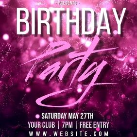 BIRTHDAY party ad TEMPLATE Square (1:1)