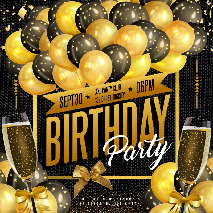 BIRTHDAY PARTY BANNER Square (1:1) template