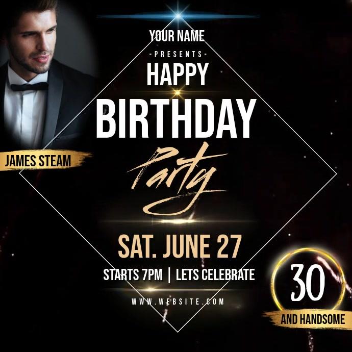 birthday party celebration invite Template Cuadrado (1:1)