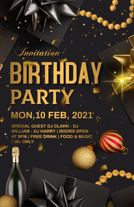 Birthday party Tabloide template