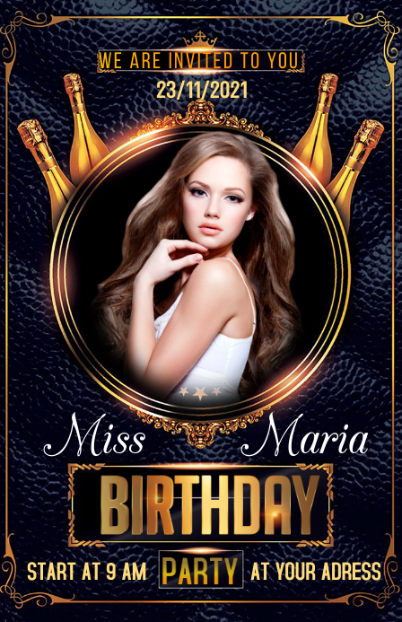 Birthday party Halve pagina breed template