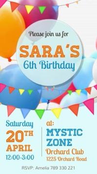 birthday party flyer, birthday video Instagram Story template