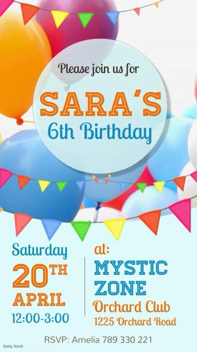birthday party flyer, birthday video Instagram-verhaal template