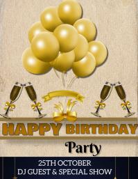 Birthday party flyer 传单(美国信函) template