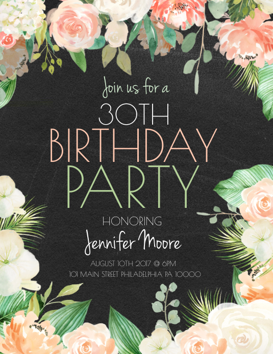 Birthday Party Pamflet (Letter AS) template
