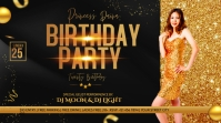 Birthday party flyer template Twitter Post