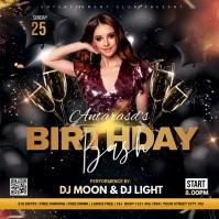 Birthday party flyer template Publicação no Instagram