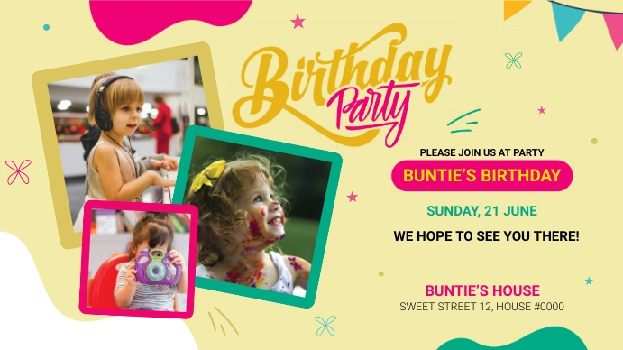 Birthday Party Greeting Digital na Display (16:9) template