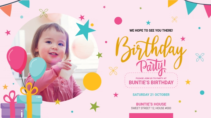 Birthday Party Greeting Pantalla Digital (16:9) template
