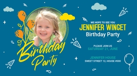 Birthday Party Greeting Tampilan Digital (16:9) template