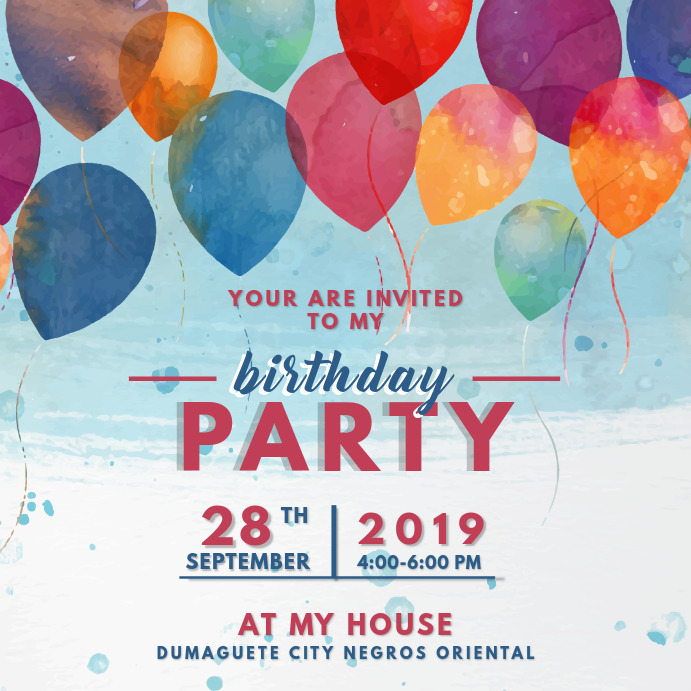 Birthday Party Invitation Card Template Postermywall