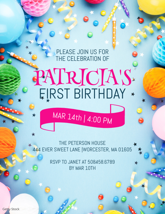 Birthday Party Invitation ใบปลิว (US Letter) template