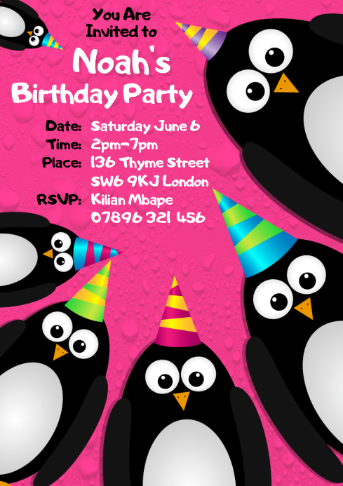 Birthday Party Invitation A4 template