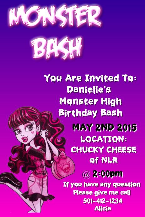 HAPPY BIRTHDAY Birthday Party Invitation for Girl
