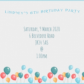 Birthday Party Invitation Instagram Template
