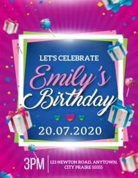 BIRTHDAY PARTY INVITATION INVITE Template Folheto (US Letter)