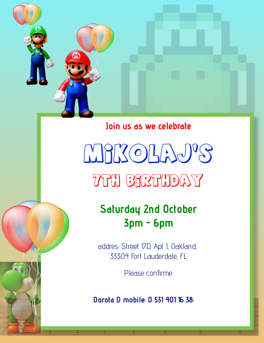 Birthday Party Invitation Kids Boy Mario Flyer (format US Letter) template